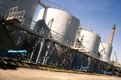 Old oil storage tanks Stock Photo