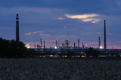 Industrial area - petroleum refinery. At the early evening Stock Photos