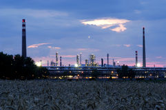 Industrial area - petroleum refinery. At the early evening Royalty Free Stock Photos