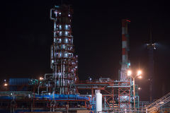 Industrial area refinery. Distillation column and Royalty Free Stock Photo