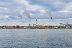 Industrial area at sea Copenhagen Stock Images