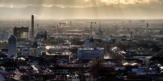 Industrial area skyline at dusk Stock Photo