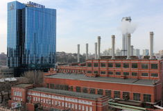 Industrial area with smokestacks Stock Photography