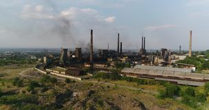 Industrial area top view, View of the industrial object, Courtyard of a factory, Aerial view, Smoke and fire, environmental pollut stock footage