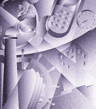 Industrial art deco. Illustration of industry activities and employment Royalty Free Stock Photo
