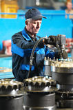 Industrial assembler worker at factory Royalty Free Stock Photo