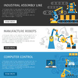 Industrial Assembly Line Flat Banners Set Stock Photo