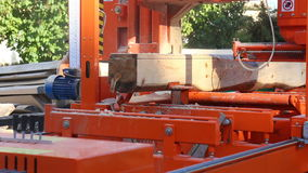 Industrial automated machine cutting wood logs stock video