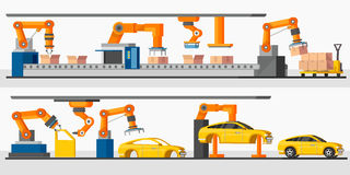 Industrial Automation Robot Horizontal Banners. With automated packing and machinery production processes vector illustration Stock Photos
