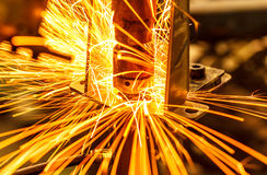 Industrial, automotive spot welding royalty free stock photography