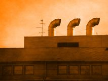 Industrial background. Orange industrial background; photo manipulation by GIMP stock image
