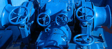 Industrial Background, Blue Ship Machines. Sea Port Royalty Free Stock Image