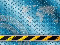 Industrial background in blue with tire treads. And striped barrier Stock Photography