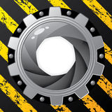 Industrial background with cog and shutter Royalty Free Stock Images