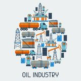 Industrial background design with oil and petrol. Icons. Extraction and refinery facilities Royalty Free Stock Image