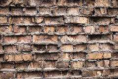 Industrial background, empty grunge urban street with warehouse brick wall Royalty Free Stock Photos