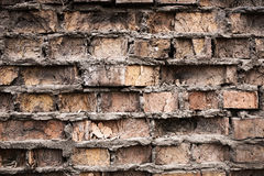 Industrial background, empty grunge urban street with warehouse brick wall Royalty Free Stock Images