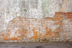 Industrial Background, Empty Grunge Urban Street With Warehouse Brick Wall. Background Of Old Vintage Dirty Brick Wall Stock Images