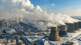 Industrial background of factory pipes. Global warming concept. stock video footage