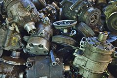 Industrial background with Lots of car parts like compressors stock photo