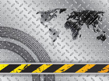 Industrial background with map and tire treads Stock Photography