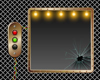 Industrial  background. Metal frame. Brass buttons with illumination. Broken glass. Illumination by lamps. Stock Photography