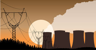 Industrial background nuclear power plant evening landscape. Stock Photo