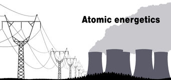 Industrial background nuclear power plant. Stock Photo