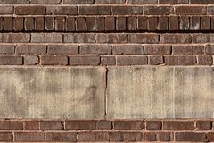 Industrial background of old bricks and textured concrete blocks. Copy space, horizontal aspect stock images
