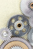 Industrial background with set of scratched various cogwheels Stock Image