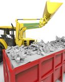 Industrial background with skip and bulldozer 3d rendering Stock Photography