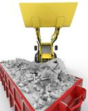 Industrial background with skip and bulldozer 3d rendering Stock Photo