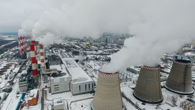 Industrial background of thermal plant. Global warming concept. stock video