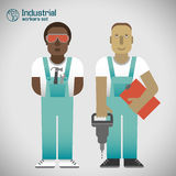 Industrial background with workman Royalty Free Stock Image