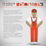 Industrial background with workman Royalty Free Stock Photo