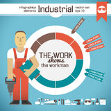 Industrial background with workman Royalty Free Stock Photography