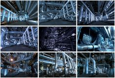Industrial backgrounds collage made of 9 pictures Royalty Free Stock Images