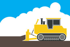 Industrial backhoe, bulldozer moving earth and sand in quarry. Illustration Royalty Free Stock Images