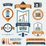 Industrial badges labels with oil and petrol icons. Extraction and refinery facilities Royalty Free Stock Photo