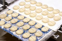 Starting industrial bread process stock images