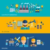 Industrial banner set. With factories and plant buildings and engineer avatars isolated vector illustration Stock Images