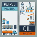 Industrial banners design with oil and petrol. Icons. Extraction and refinery facilities Royalty Free Stock Photography