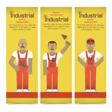 Industrial banners set with workman Royalty Free Stock Images