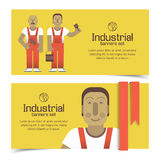 Industrial banners set with workman Royalty Free Stock Photos