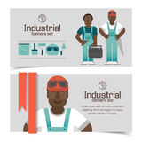 Industrial banners set with workman Stock Image