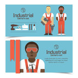 Industrial banners set with workman Stock Photography