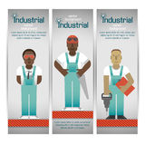 Industrial banners set with workman Royalty Free Stock Photo
