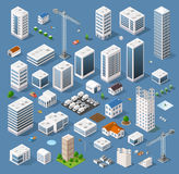 Industrial based on isometric projection. Of a three-dimensional houses, buildings, cranes, cars and many other design elements necessary creative designers for Royalty Free Stock Images