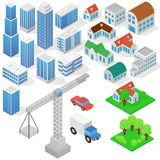 Industrial based on isometric projection of a three-dimensional houses, buildings, cranes, cars and other design vector illustration