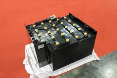 Industrial battery for forklift. Truck ;traction battery royalty free stock photos